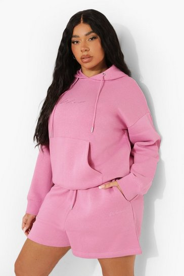 Pink Plus Embroidered Hooded Short Tracksuit