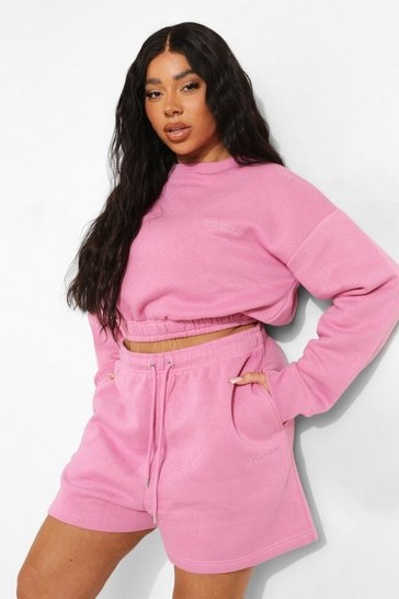 Pink Plus Cropped Sweater Short Tracksuit