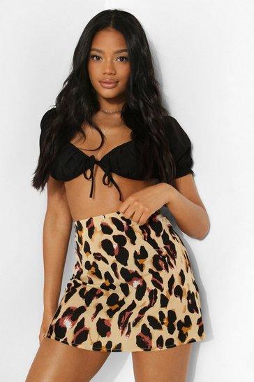 Petite Leopard Print Mini Skirt