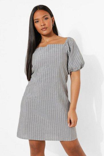 Black Plus Bardot Linen Striped Shift Dress