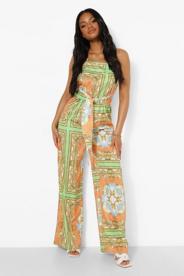 Orange Petite Chain Print Tie Waist Jumpsuit