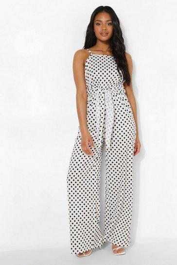 White Petite Spot Print Tie Waist Jumpsuit