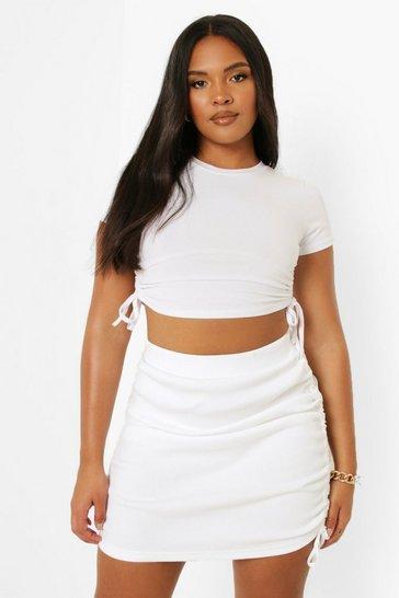 White Plus Rib Ruched Mini Skirt
