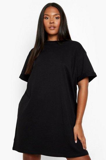 Black Plus Oversized T-shirt Dress