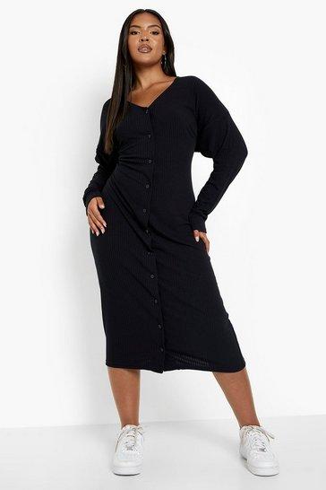 Plus Knitted Rib Midi Dress
