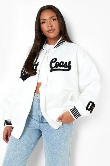 Ivory white Plus West Coast Varsity Jacket