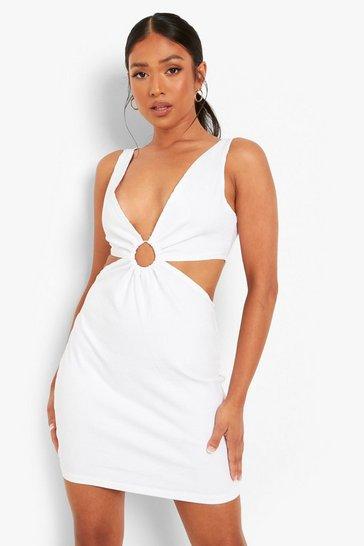 White Petite O Ring Cut Out Denim Dress