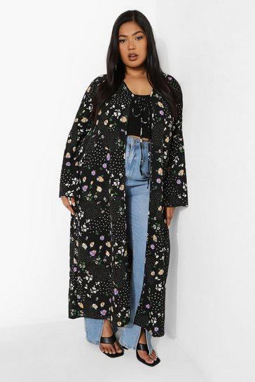 Black Plus Mixed Floral Kimono