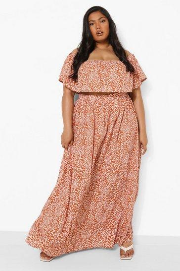 Brown Plus Leopard Bardot Maxi Skirt Co-ord