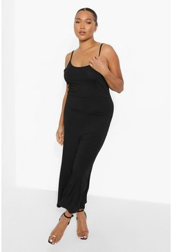 Black  Plus Ribbed Culotte Jumpsuit