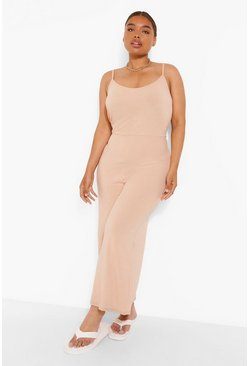 Stone beige Plus Ribbed Culotte Jumpsuit