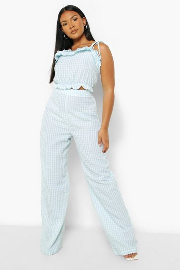 Sage green Plus Gingham Ruffle Top And Trouser Co-ord