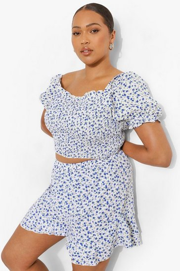 White Plus Ditsy Floral Crop Top