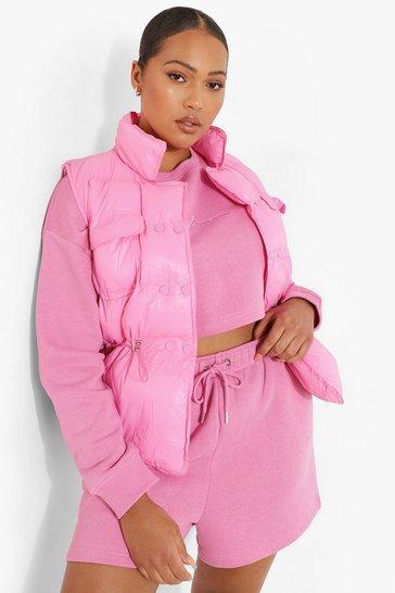 Pink Plus Sleeveless Padded Gilet