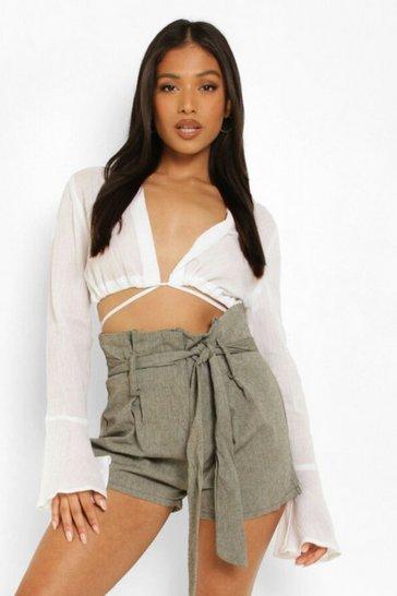 Khaki Petite Tailored Buckle Linen Look Short