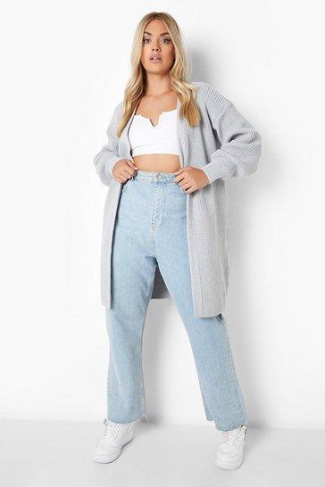 Grey Plus Neon Longline Cardigan
