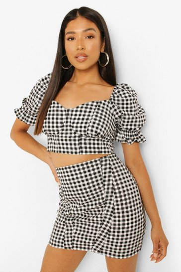 Black Petite Gingham Print Denim Mini Skirt