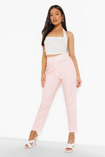 Pink Petite Gingham Print Tailored Trouser