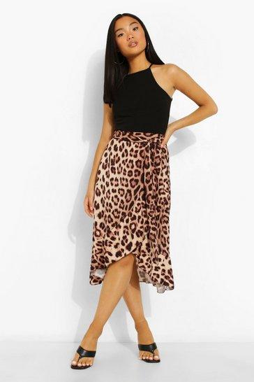 Natural beige Petite Leopard Wrap Ruffle Midi Skirt
