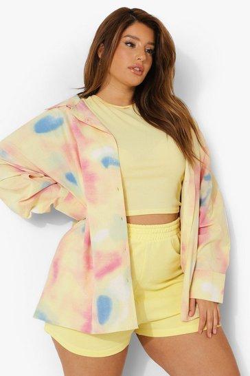 Multi Plus Tie Dye Poplin Oversized Shirt