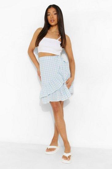 Blue Petite Gingham Ruffle Hem Wrap Mini Skirt