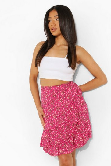 Pink Petite Ditsy Ruffle Hem Wrap Mini Skirt