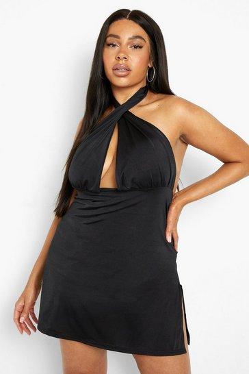 Black Plus Recycled Mutli Way Slinky Mini Dress