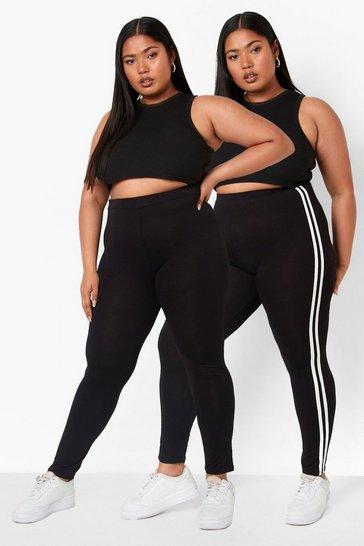 Black Plus Stripe And Plain Legging 2 Pack