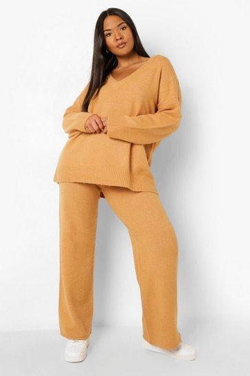 Camel beige Plus Knitted V Neck Jumper Loungewear Set