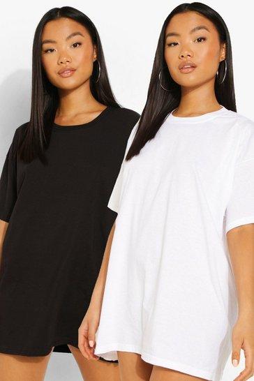 Blackwhite black Petite Oversized T-shirt Dress 2 Pack
