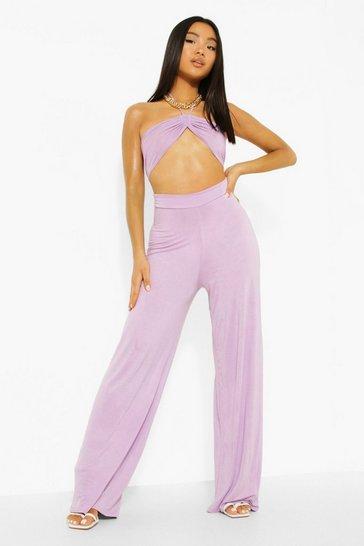 Lilac purple Petite Fine Strap Cut Out Flare Leg Jumpsuit