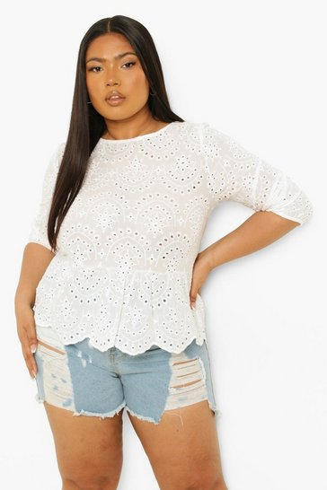 White Plus Broderie Smock Top