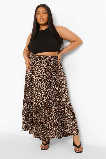 Plus Leopard Print Tiered Maxi Skirt
