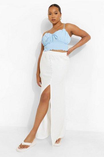 White Plus Premium Textured Woven Button Maxi Skirt