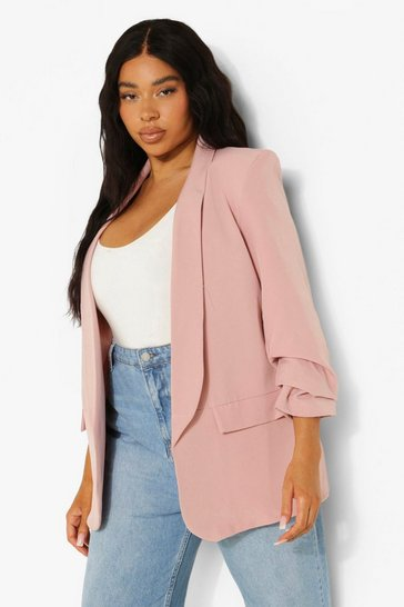 Rose pink Plus Stretch Woven Ruched Sleeve Blazer