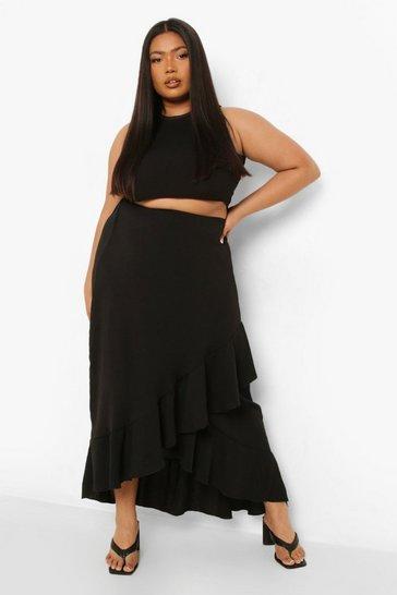 Black Plus Textured Ruffle Maxi Skirt