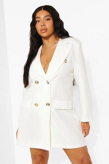 White Plus Oversized Double Breasted Blazer