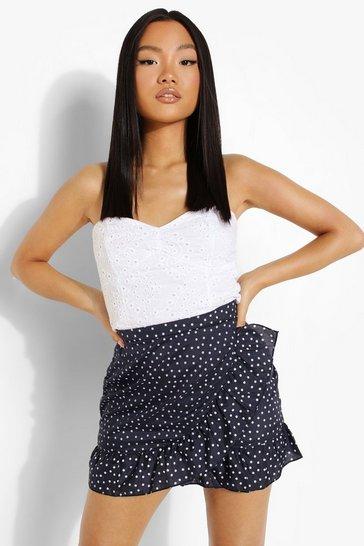 Navy Petite Spot Print Ruffle Wrap Mini Skirt