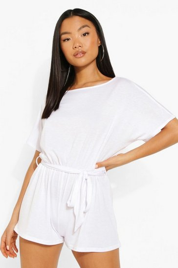 White Petite Batwing Belted Playsuit
