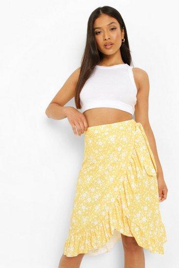 Yellow Petite Ditsy Floral Wrap Ruffle Midi Skirt