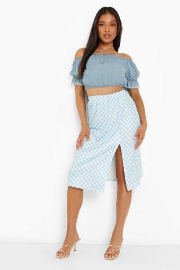 Blue Petite Gingham Side Split Midi Skirt