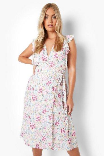 Multi Plus Mixed Floral Wrap Sleeveless Midi Dress