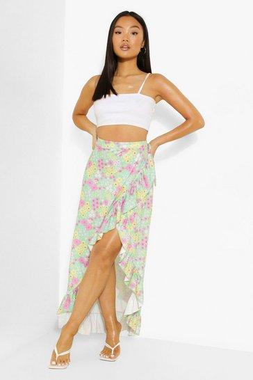 Mint green Petite Ditsy Floral Wrap Ruffle Maxi Skirt
