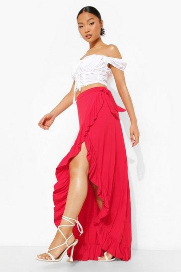 Red Petite Jersey Wrap Ruffle Maxi Skirt