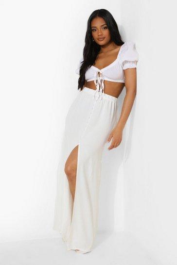 White Petite Premium Button Front Maxi Skirt