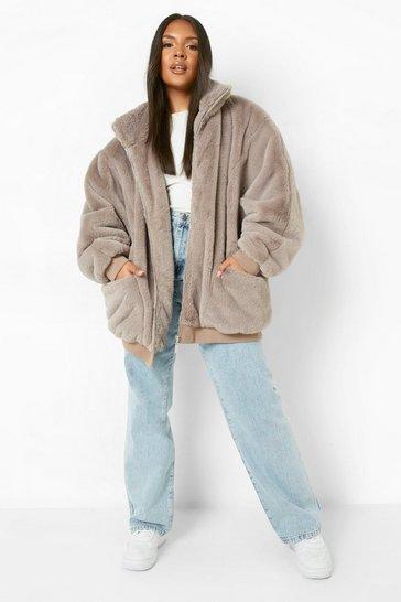 Mocha beige Plus Oversized Pocket Detail Faux Fur Jacket