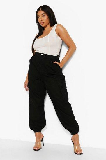 Black Plus Denim Elasticated Cuff Pocket Joggers