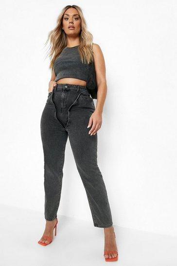 Black Plus Acid Wash Double Layer Mon Jeans