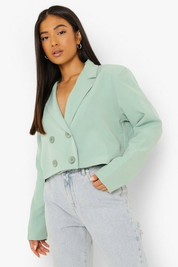 Sage green Petite Crop Double Breasted Blazer