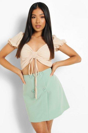 Sage green Petite Button Detail Mini Skirt